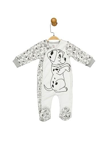 101 DALMAÇYALI  Lisanslı Bebek Patikli Tulum 17601 Beyaz